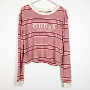 Guess Pink Striped Long Sleeve Crop Top